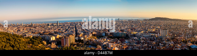 Panoramic view at sunset over Barcelona, Catalonia, Spain - Stock Image