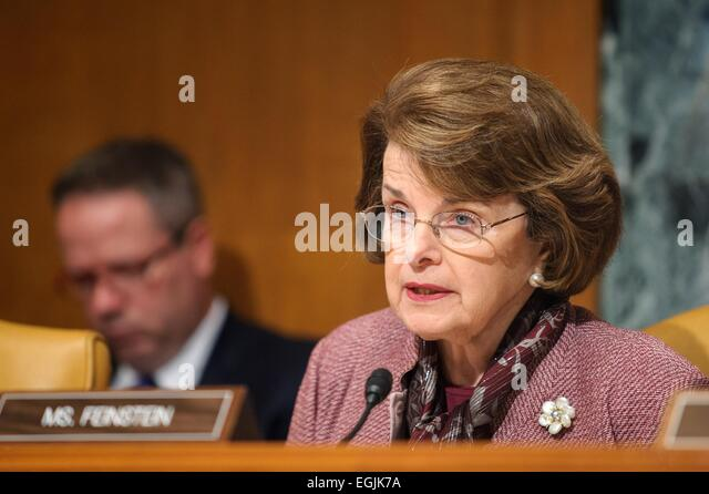 US Democratic Senator Dianne Feinstein during the Senate Appropriations Committee hearing April 9, 2014 in Washington, - Stock Image