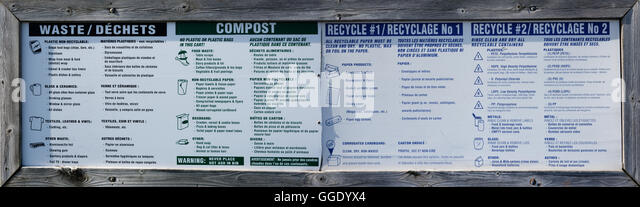 Extensive recycling and composting sign and bins on Price Edward Island - Stock Image