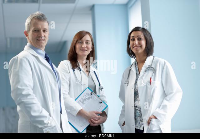 Team of 3 doctors - Stock Image