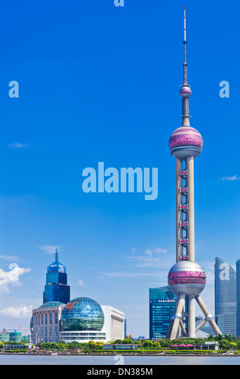 Shanghai pudong Skyline with Oriental Pearl PRC, People's Republic of China, Asia - Stock Image