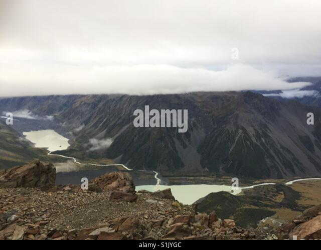 View down onto Hooker Valley from the ridge near Mueller Hut - Stock Image