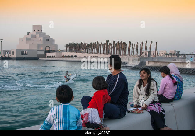 Museum of islamic art by famous architect  I.M. Pei  at the promanade  of Doha corniche - Stock Image