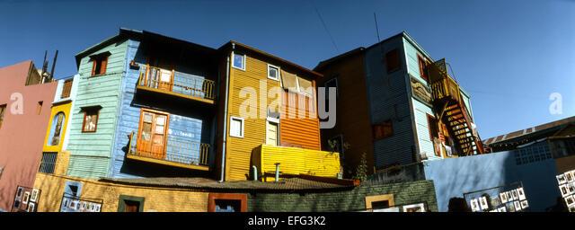 Colored facades in Caminito street, in La Boca neighborhood. Buenos Aires. - Stock Image