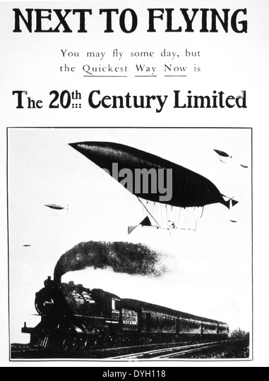 Advertisement for the 20th Century Limited Express Passenger Train, USA, circa 1905 - Stock Image