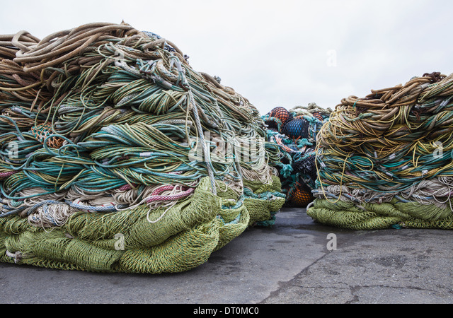 Seattle Washington USA Commercial fishing nets at Fisherman's Terminal - Stock Image