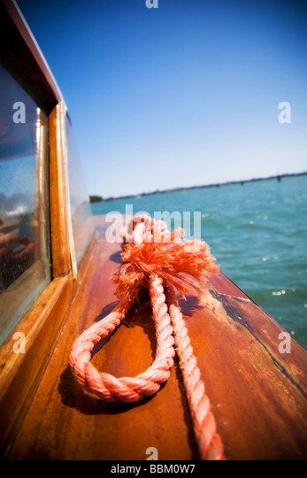 Sea travel Red rope closeup - Stock Image