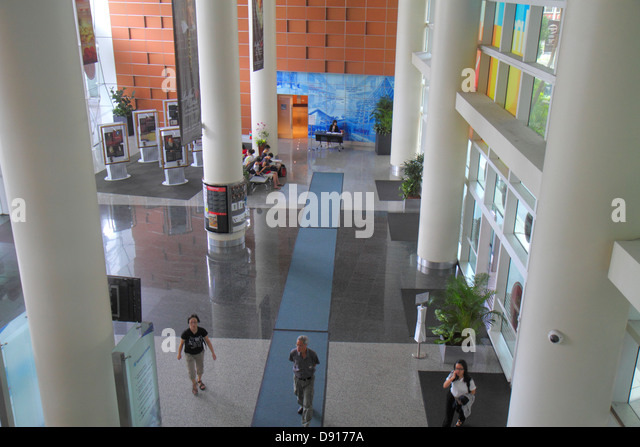 Singapore Middle Road National Library central public lobby - Stock Image