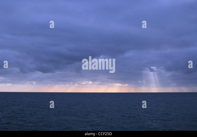 Empty winter seascape ,Worthing Sussex UK - Stock Image