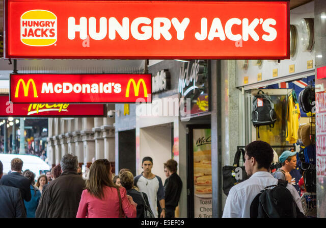 Melbourne Australia Victoria Central Business District CBD Swanston Street Hungry Jack's Burger King McDonald's - Stock Image