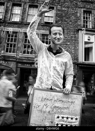 Leave a message for the British MP David Cameron , satire at the August Edinburgh Festival UK - Stock Image