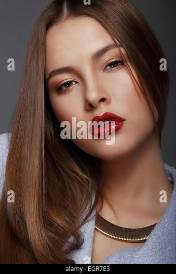 Portrait of Beautiful Nice Looking Well-Groomed Woman - Stock Image