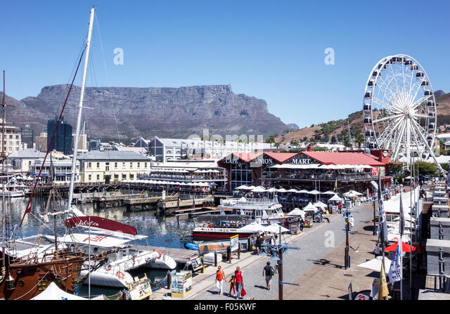 South Africa African Cape Town V & A Victoria Alfred Waterfront Table Bay Harbour harbor Table Mountain Cape - Stock Image