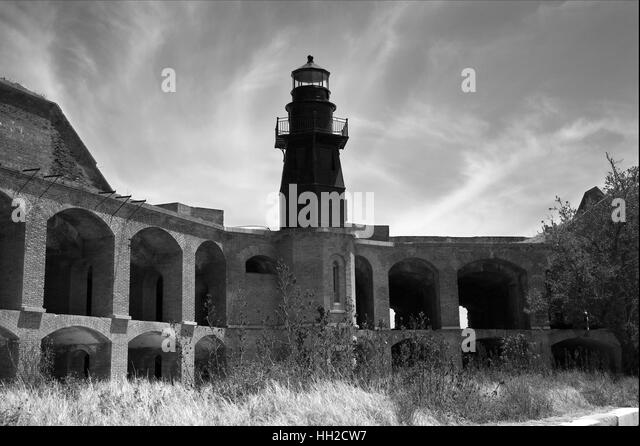 Dry Tortugas National Park - Lighthouse - Bastion C-Interior View of Lighthouse from Fort Jefferson grounds-in black - Stock Image