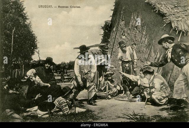 Early 20th century postcard of  Uruguayan gauchos/ cowboys. - Stock Image