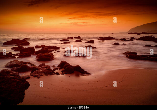 Sunset afterglow at Cola Beach, Canacona,Goa,India - Stock Image