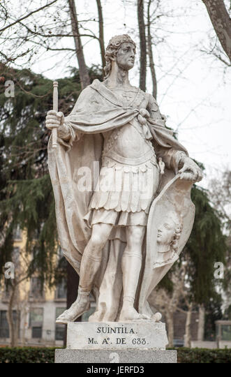 Madrid, Spain - february 26, 2017: Sculpture of Suintila at Plaza de Oriente, Madrid. He was a Visigothic King of - Stock Image