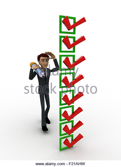3d man with lots of alternatives concept on white background, front angle view - Stock Image