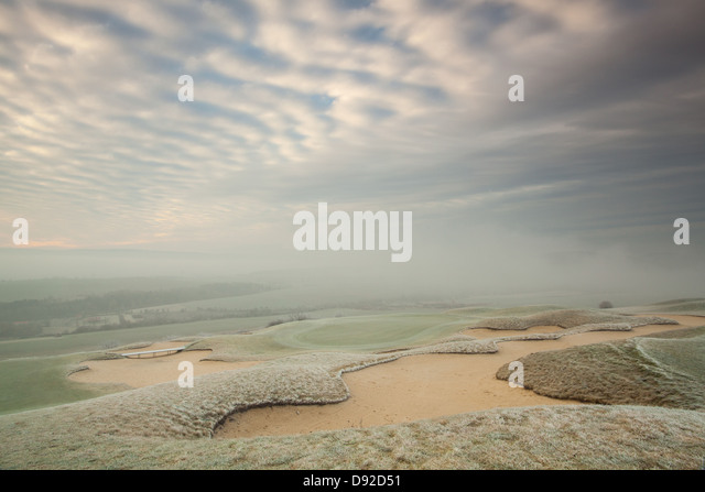 On the empty golf course in autumn morning - Stock Image