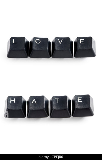 computer keys isolated on white spelling the word love and hate - Stock Image