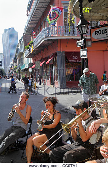 Louisiana New Orleans French Quarter Royal street performer Tuba Skinny musical band musician jazz blues busker - Stock Image