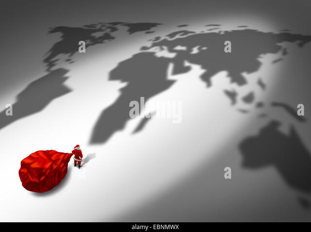 Christmas delivery and holiday shipping service concept as a santa clause character in a red costume holding a big - Stock Image