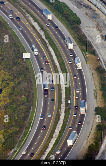 Aerial View of Busy Interstate Highway 24 in Chattanooga, Tennessee - Stock Image