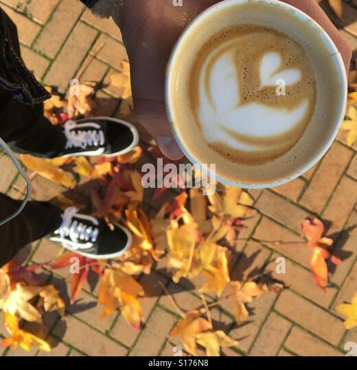 Coffee in Autumn - Stock-Bilder
