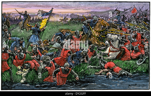 Scots rout the English army at the battle of Bannockburn, 1314. - Stock Image