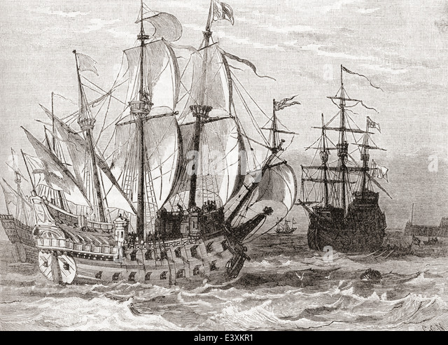 16th century sailing ships. - Stock Image