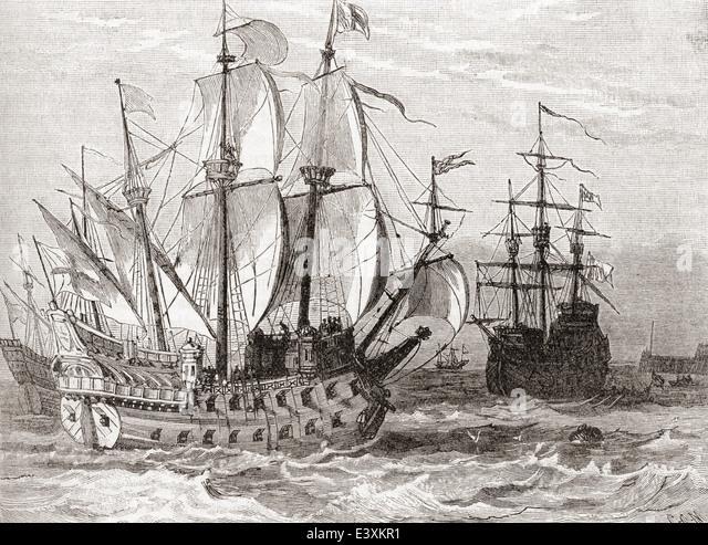16th century sailing ships. - Stock Image