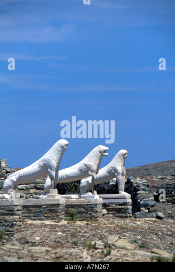 GREECE Terrace of the Lions at Delos - Stock Image