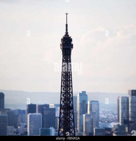 High Section Of Eiffel Tower Against Buildings In City - Stock-Bilder