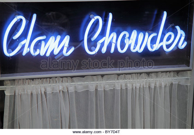 Maryland Baltimore restaurant window neon sign claim chowder blue curtain - Stock Image