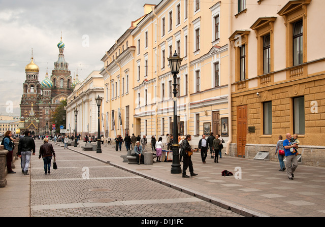 View down a street to the Church of the Savior on Spilled Blood in Saint Petersburg, Russia. - Stock Image