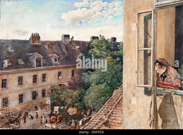 Rudolf von Alt, View of the Alservorstadt, 1872 Watercolor. Albertina, Vienna, Austria - Stock-Bilder
