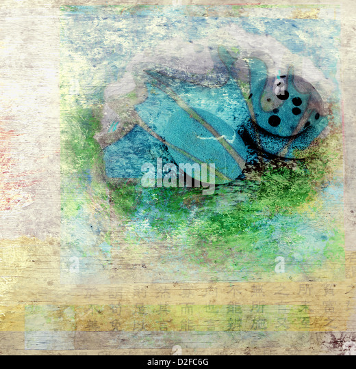 Stones and water. Photo based mixed medium illustration. - Stock Image