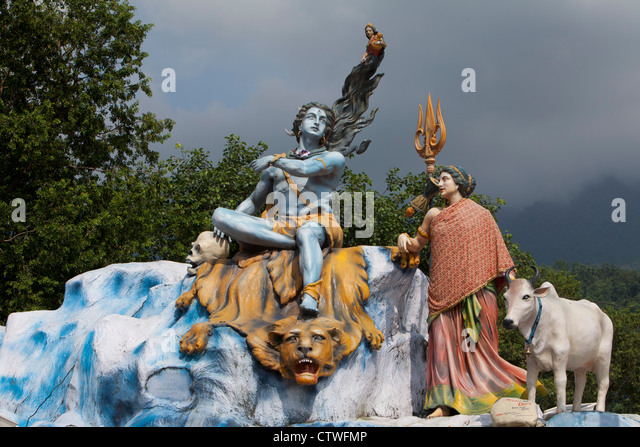 Shiva god India sculture religion culture hinduism scene color Rishikesh Uttarakhand - Stock Image