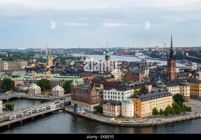 Skyline view over Gamla Stan, Riddarholmen and Riddarfjarden, Stockholm, Sweden, Scandinavia, Europe - Stock Image