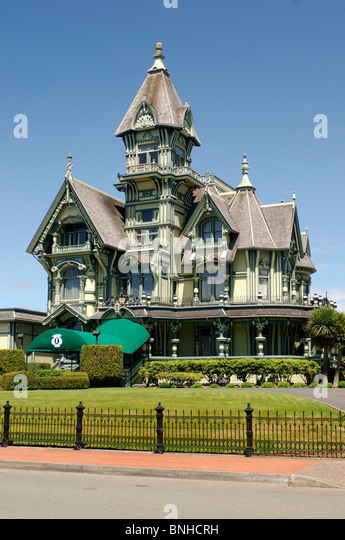Usa Eureka California Carson Mansion Victorian Architecture Villa House United States of America - Stock Image
