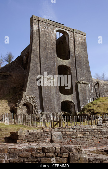 Water Balance Tower at Blaenavon Ironworks - Stock Image