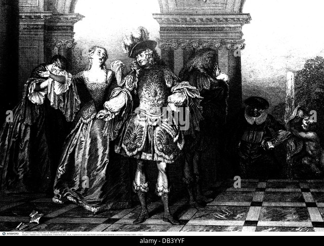 theatre theater actors France early 18th century after painting by Antoine Watteau (1684 - 1721) copper engraving - Stock Image