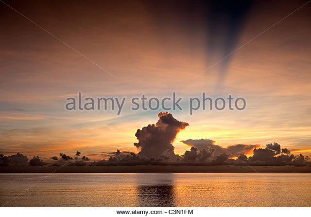 Indonesia, Island Bali, near Tejakula village, Gaia Oasis Resort. Sunrise. - Stock Image