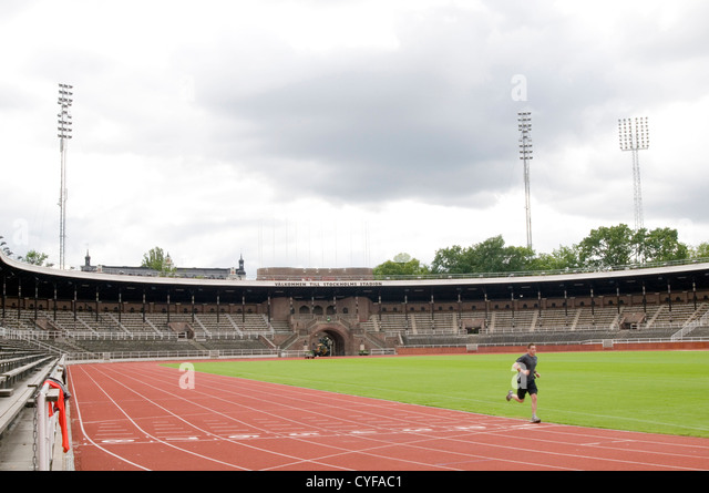 Stockholm Olympiastadion sweden athletics track running tracks sports stadium  runner 1912 olympic games - Stock Image