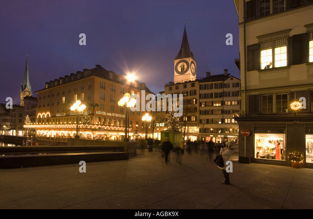 Switzerland Zuerich Hotel Storchen Munster bridge - Stock Image
