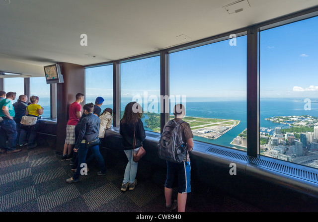 View over Lake Ontario from the LookOut Level at the top of the CN Tower, Toronto, Ontario, Canada - Stock Image