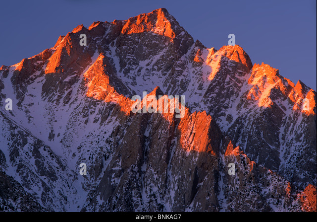 Lone Pine Peak in the Sierra Nevada range in California - Stock Image