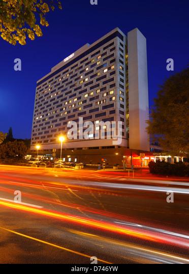 Zagreb, hotel Westin in the night, Croatia - Stock-Bilder
