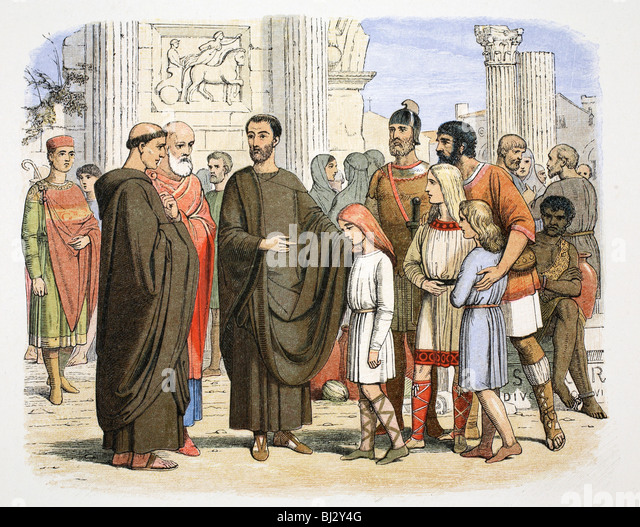 St Gregory the Great and the English slaves at Rome, 590 (1864).  Artist: James William Edmund Doyle - Stock Image