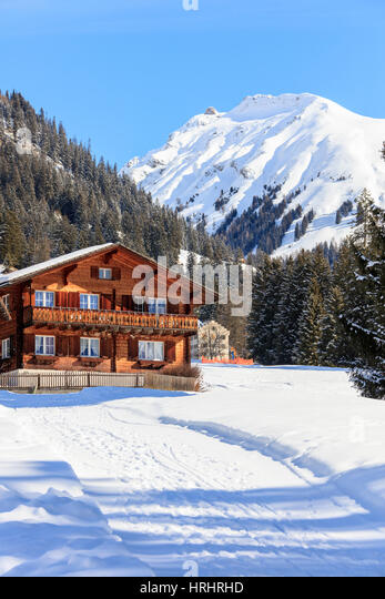 Typical wooden hut framed by woods and snowy peaks, Langwies, district of Plessur, Canton of Graubunden, Swiss Alps, - Stock-Bilder